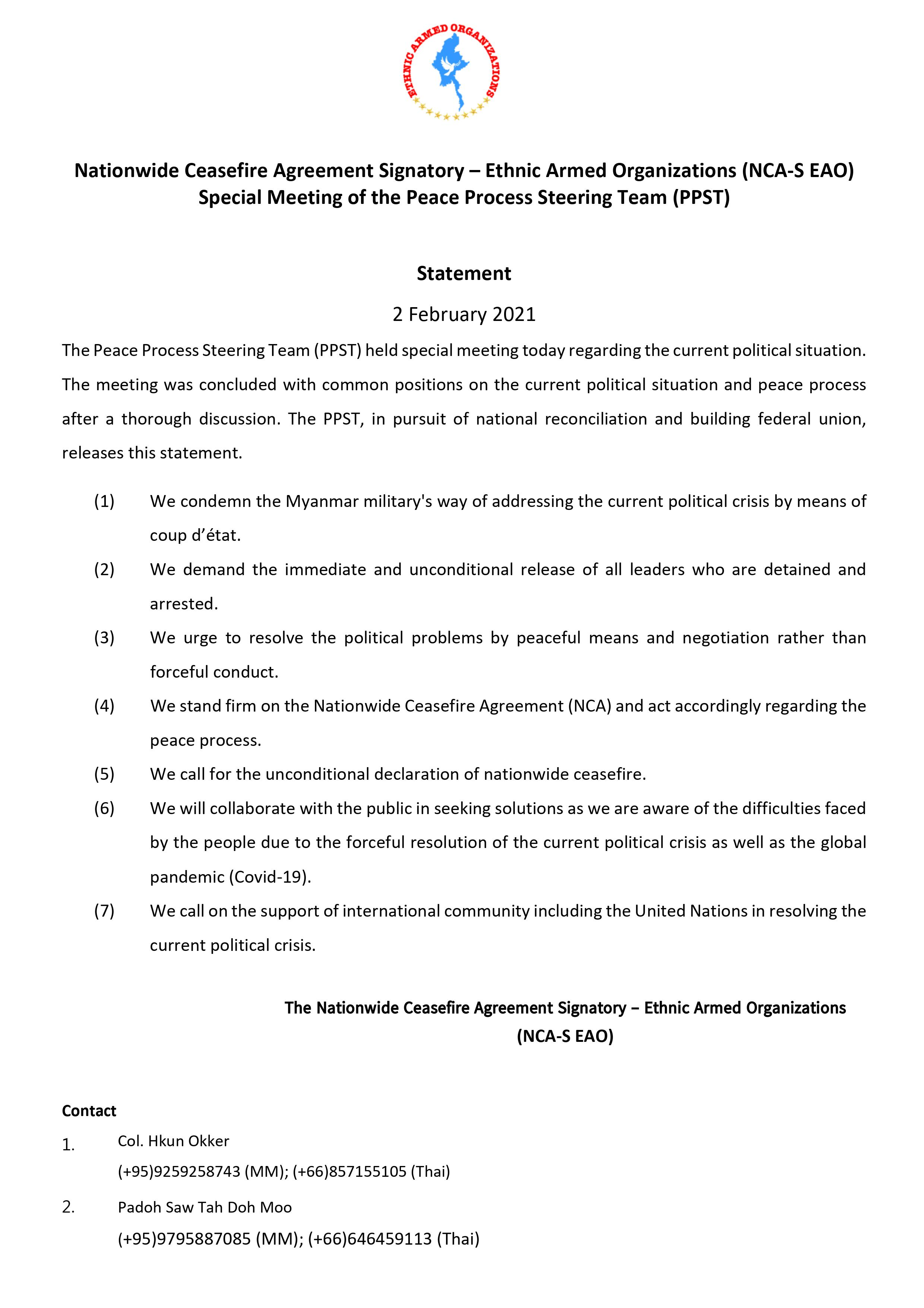 The Statement of Special Meeting of the Peace Process Steering Team (PPST)